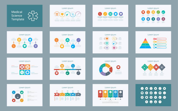 abstract medical sciences infographics presentation slide set with icon in white color background - infographics stock illustrations, clip art, cartoons, & icons