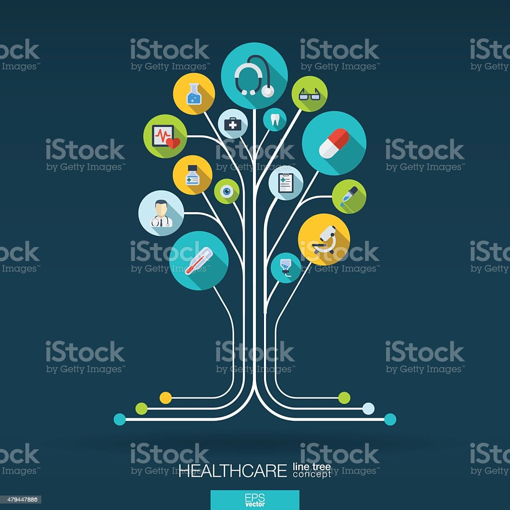 Abstract medicine background with lines, connected circles, integrated flat icons.
