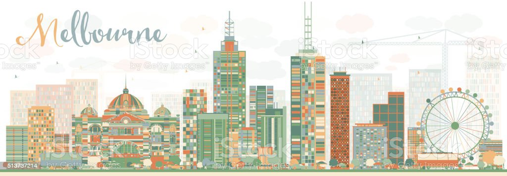 Abstract Melbourne Skyline with Color Buildings. vector art illustration