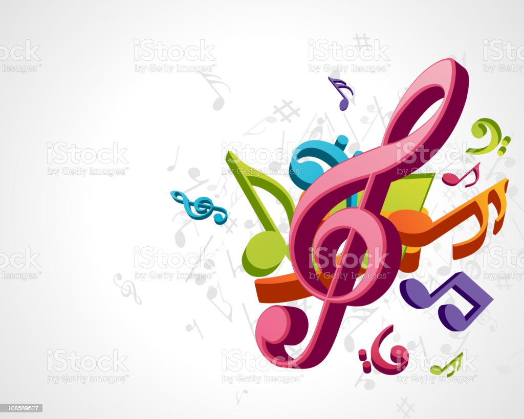 Abstract melody with fly notes vector background royalty-free stock vector art