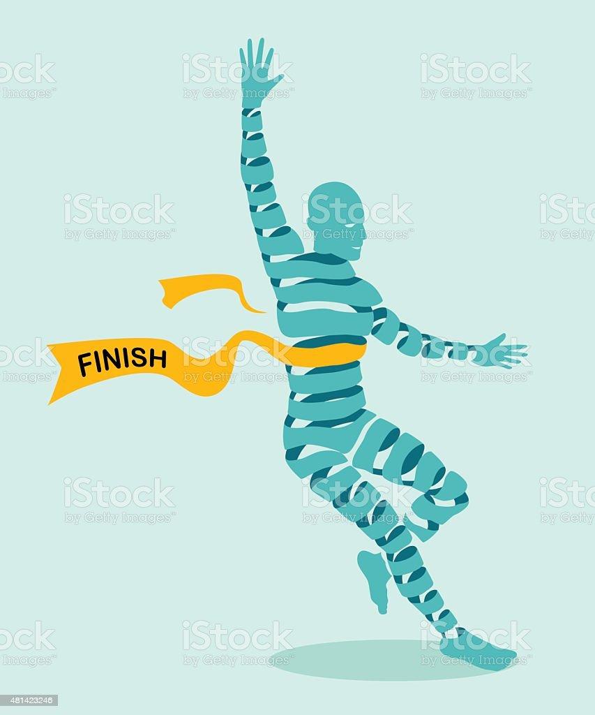 Abstract men ribbon shaped running to victory. vector art illustration