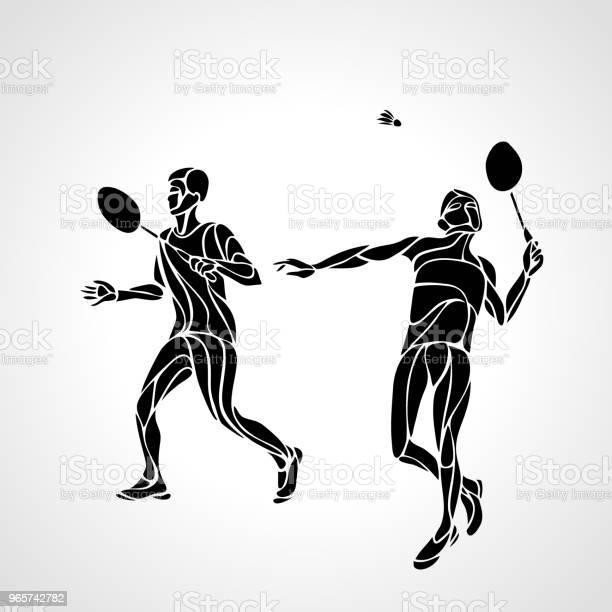 Abstract Mens Doubles Badminton Players Ector Eps10 - Arte vetorial de stock e mais imagens de Arte Linear