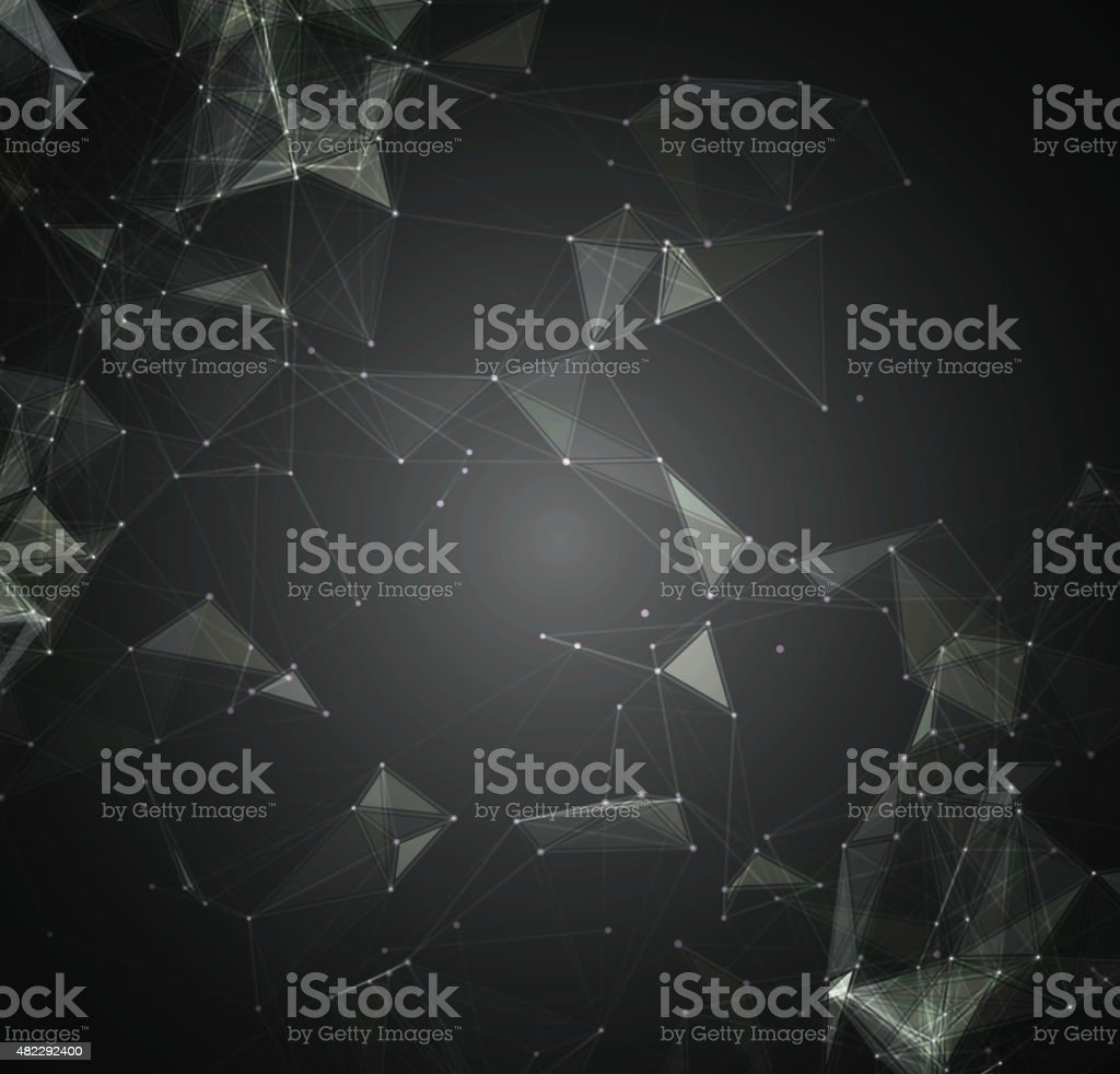 Abstract mesh background with circles, lines and shapes vector art illustration