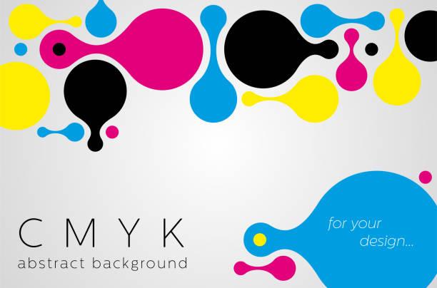illustrazioni stock, clip art, cartoni animati e icone di tendenza di abstract metaball background from cmyk colors - cmyk
