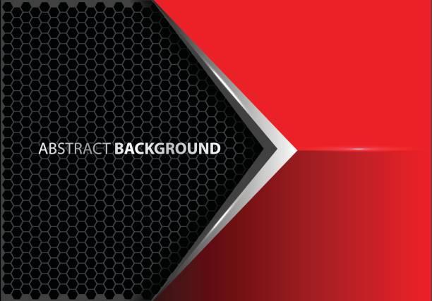 abstrakte metallpfeil auf rot grau sechseck mesh muster design moderner luxus futuristische kreative idee hintergrund vektor-illustration. - edelrost stock-grafiken, -clipart, -cartoons und -symbole
