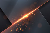 Abstract metal background with sparks in vector