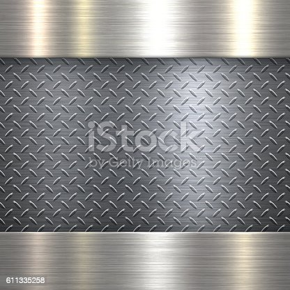Background of metal diamond plate in silver color can be used for design. With space for text.
