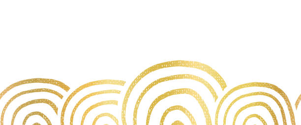 ilustrações de stock, clip art, desenhos animados e ícones de abstract metallic golden foil seamless vector border hand drawn circle shapes. repeating gold pattern ring rainbow shapes for bottom of page decor, cards, trim, banner, celebration, party. - gradients golden ribbons
