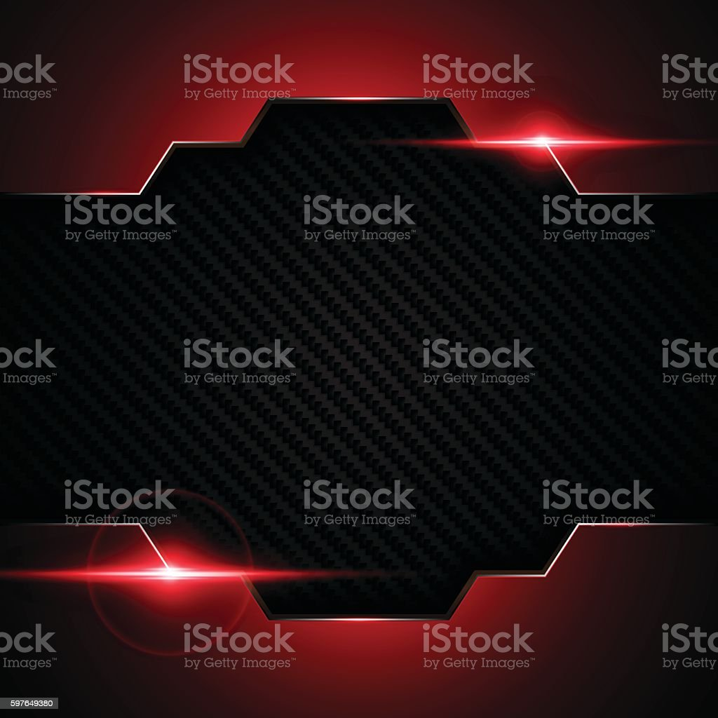 abstract metallic red frame carbon kevlar pattern tech sports background vector art illustration