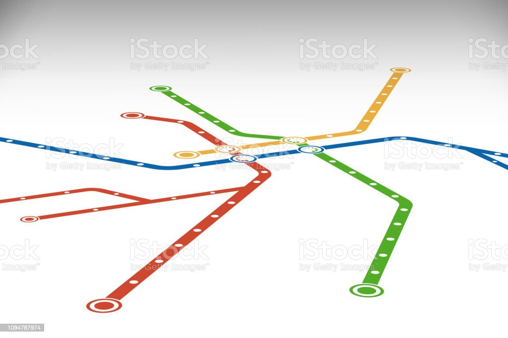 Subway Map Graphic Design.Abstract Metro Or Subway Map Design Template Stock Illustration