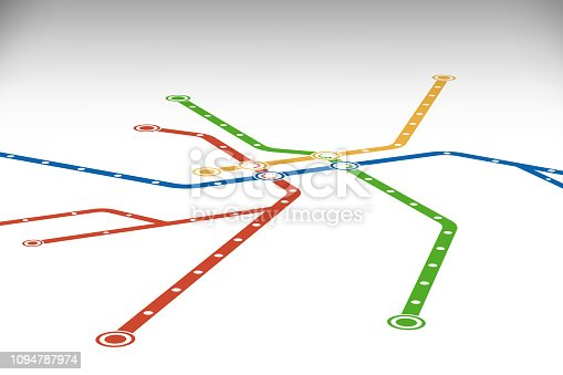Abstract  metro or subway map design template.  perspective view.    City transportation scheme concept. Rapid transit vector illustration