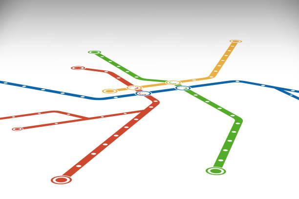 illustrations, cliparts, dessins animés et icônes de abstrait métro ou métro carte modèle de conception. - métro