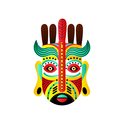 Abstract mexican mask with red feather and green wave element