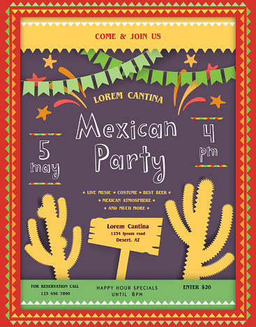 Abstract mexican style invitation or announcing poster template with desert landscape in scrapbooking style.