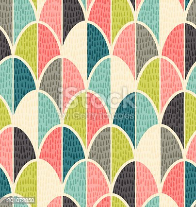 istock Abstract mid-century overlapping egg pattern for easter and spring backgrounds, gift wrap, wallpaper. 1201072850