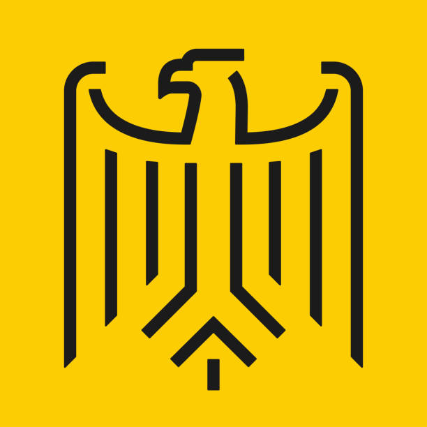 추상 최소한의 독수리 엠 블 럼 - 독일 문화 stock illustrations