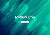 Abstract minimal geometric vibrant green and blue color on dark background. template website landing page. Dynamic shapes composition. Vector illustration