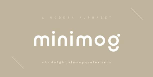 ilustraciones, imágenes clip art, dibujos animados e iconos de stock de fuentes de alfabeto modernos mínimas abstractas. tipografía minimalista moda digital urbana futuro fuente de logotipo creativo. ilustración vectorial - font