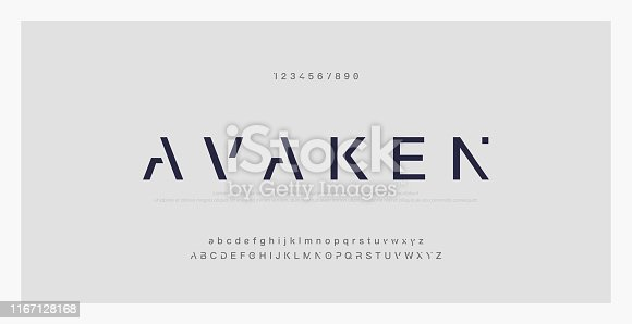 Abstract minimal modern alphabet fonts. Typography technology electronic digital music future creative font. vector illustraion