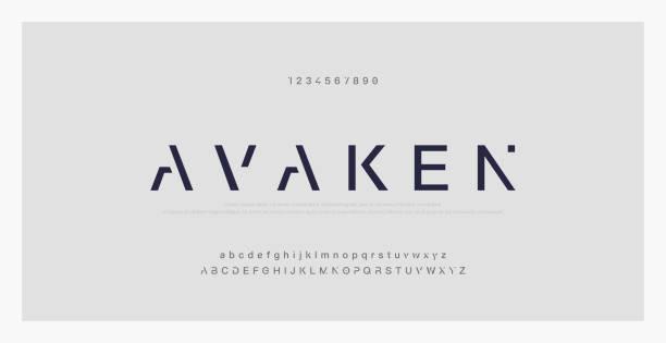 최소한의 현대 알파벳 글꼴을 추상화. 타이포그래피 기술 전자 디지털 음악 미래 창조적 인 글꼴. 벡터 일러스트 - future stock illustrations