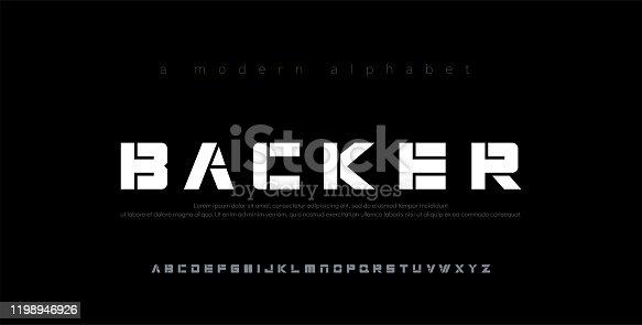 istock Abstract minimal modern alphabet fonts. Typography technology electronic digital music future creative font. vector illustration 1198946926