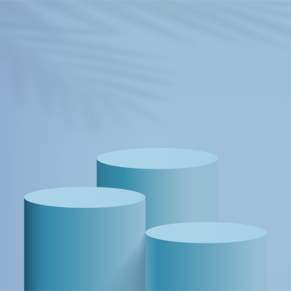 Abstract minimal scene with blue cylinder podiums. Vector illustration.