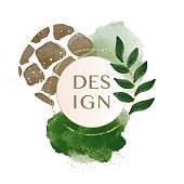 Abstract minimalist artwork watercolor background with vector illustration hand drawn shapes giraffe skin, green leaf and glitters with circle frame for text. Contemporary artist trendy 2020. Design decorative mid century modern posters, covers, social media page and magazines.