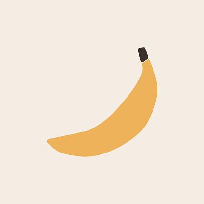 Abstract Minimalist banana shape art print element.