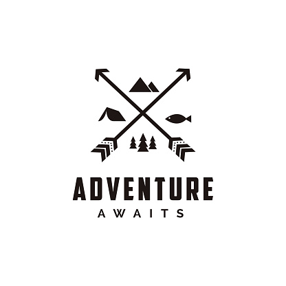 Abstract minimalist Outdoor adventure, archer hunter, travel badge with arrow and hexagon shape vector illustrations template