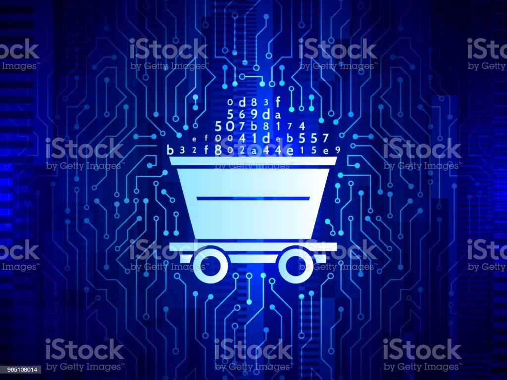 Abstract mining concept with trolley and circuit board texture. royalty-free abstract mining concept with trolley and circuit board texture stock illustration - download image now