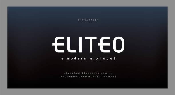 추상 현대 알파벳 글꼴입니다. 타이포그래피 전자 디지털 게임 음악 미래 창조적 인 글꼴 및 숫자 디자인 개념. 벡터 일러스트 - future stock illustrations
