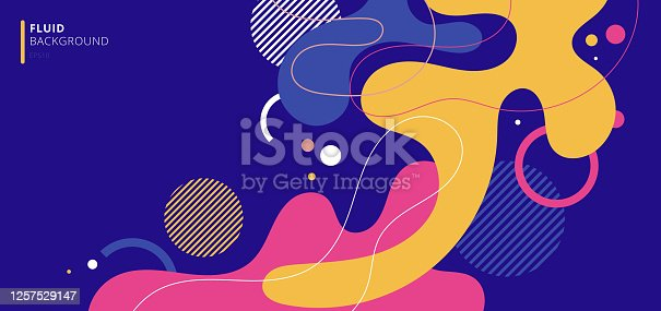istock Abstract modern background elements dynamic fluid shapes compositions of colored spots 1257529147