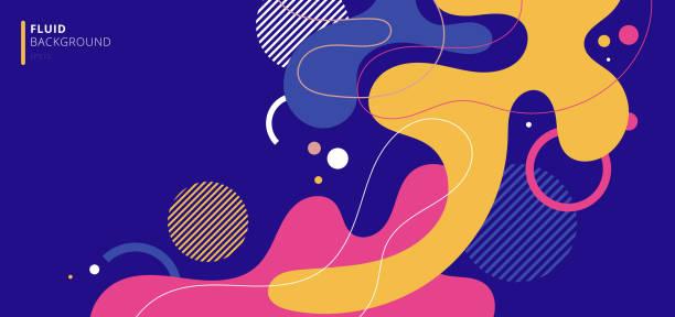 abstrakcyjne nowoczesne elementy tła dynamiczne płynne kształtuje kompozycje kolorowych plam - kolory stock illustrations