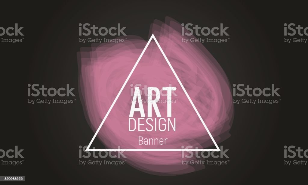 abstract modern banner with triangle shape and pink brush stroke