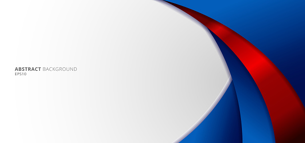 Abstract modern blue and red gradient curved shape on white background.