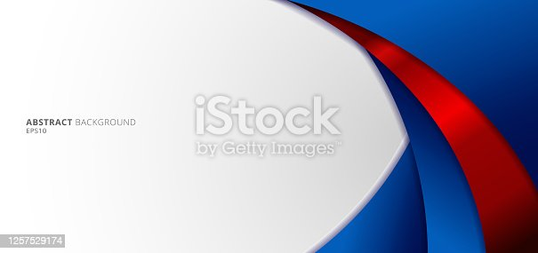 istock Abstract modern blue and red gradient curved shape on white background. 1257529174