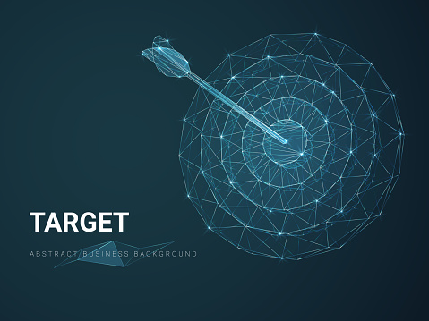 Abstract modern business background depicting target with stars and lines in shape of a circular target with an arrow on blue background.