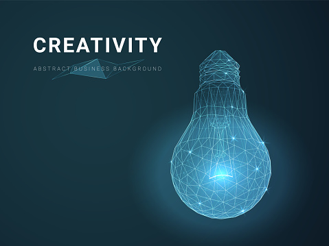 Abstract modern business background vector depicting creativity with stars and lines in shape of a light bulb on blue background.