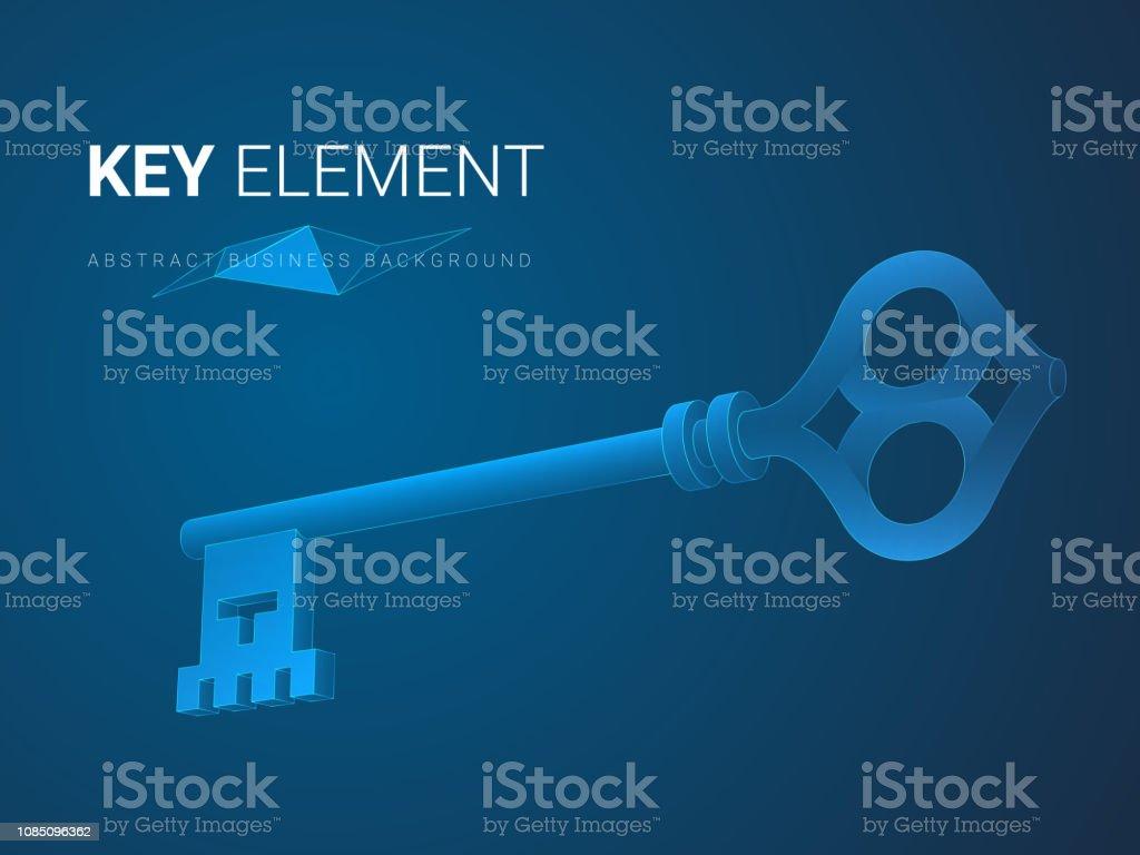 Vector de fondo abstracto moderno de negocios que representan importancia en forma de una llave en el fondo azul. - ilustración de arte vectorial
