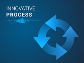Abstract modern business background vector depicting innovative process in shape of recycle loop symbol on blue background.