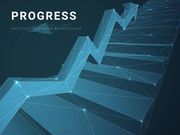 abstrakt modern business hintergrund vektor darstellung fortschritte mit sternen und linien in form einer treppe mit einem pfeil auf blauem hintergrund. - treppe stock-grafiken, -clipart, -cartoons und -symbole
