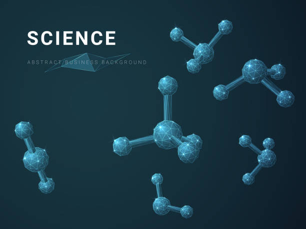 Abstracte moderne zakelijke achtergrond vector wetenschap in de vorm van moleculen op blauwe achtergrond afgebeeld.vectorkunst illustratie