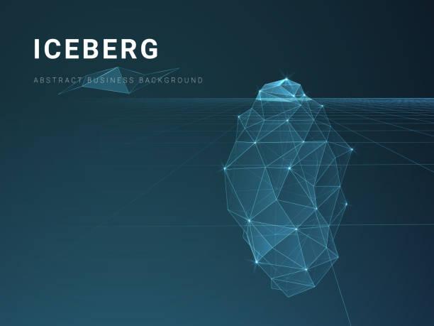 ilustrações de stock, clip art, desenhos animados e ícones de abstract modern business background vector with stars and lines in shape of an iceberg on blue background. - iceberg