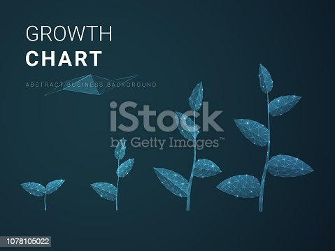 Abstract modern business growing chart with stars and lines in shape of plants on blue background.
