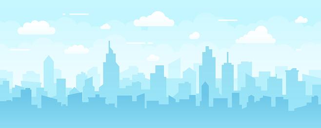 Abstract Modern City Skyline - Seamless Vector Pattern