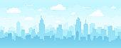 istock Abstract Modern City Skyline - Seamless Vector Pattern 1266832146