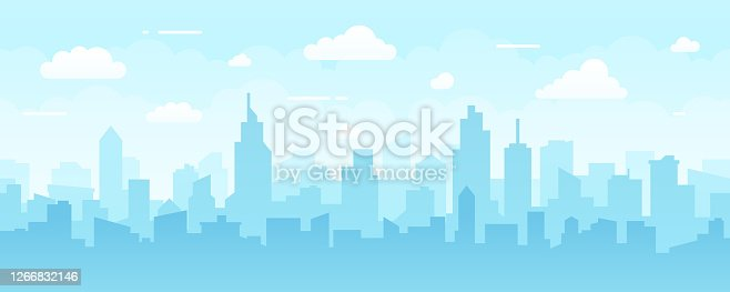 istock Abstract Modern City Skyline - Seamless Vector Pattern 1266832146