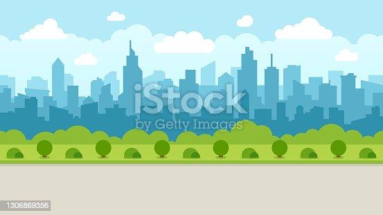 istock Abstract Modern City Skyline - Seamless Vector Pattern 1306869356