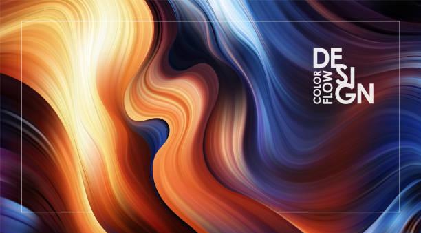 illustrazioni stock, clip art, cartoni animati e icone di tendenza di abstract modern colorful flow background. liquid wave color paint shape. art design - ice on fire