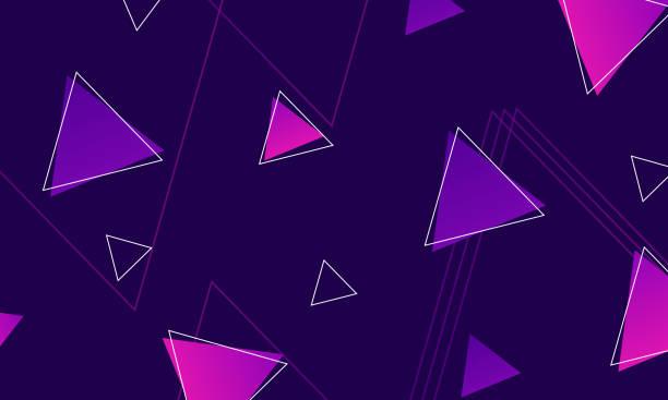 stockillustraties, clipart, cartoons en iconen met abstracte moderne kleurrijke driehoeken op donkere achtergrond. - triangel